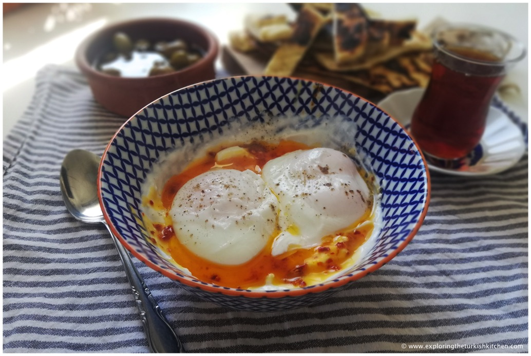 Turkish poached eggs on garlic yoghurt