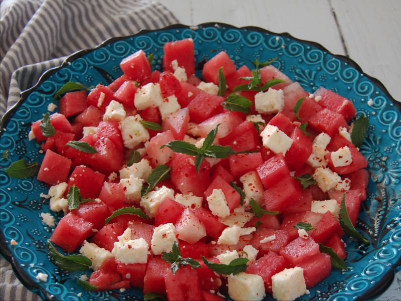 Trukish Watermelon & White Cheese Salad (Karpuz Salatası)