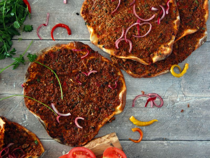 Homemade lahmacun (Turkish mincemeat topped flatbread)