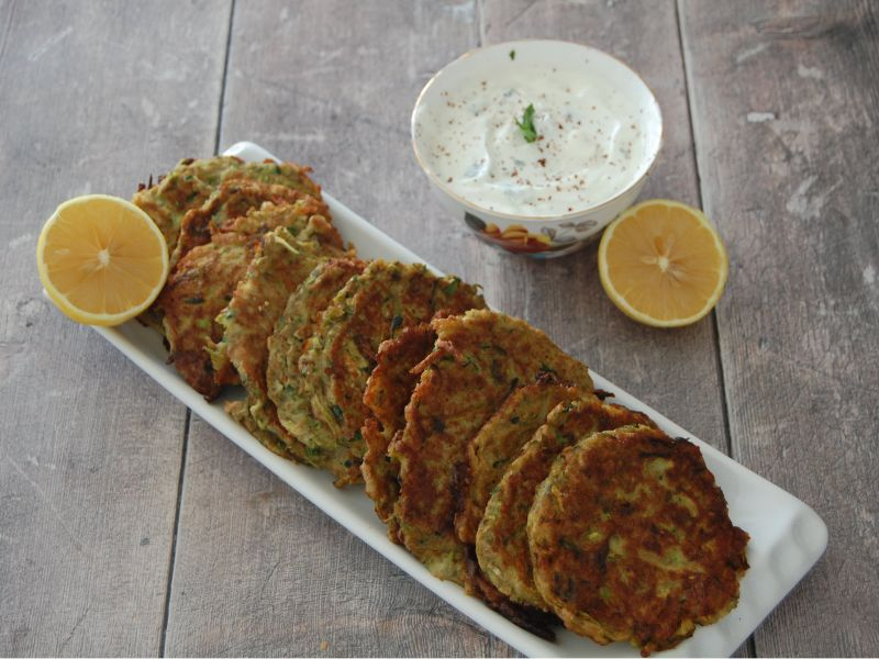 Turkish Courgette Fritters With Lemon (Kabak Mücver)