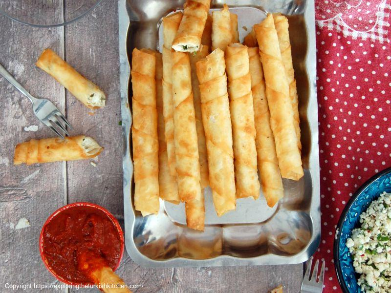 Turkish Cheese Filled Pastry Rolls